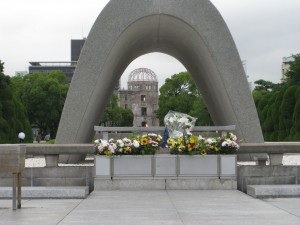 The memorial cenotaph and Atomic Bomb Dome in Hiroshima